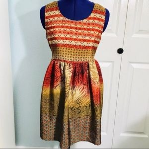 Band of Gypsies Boho Gold Tones Fall Dress Medium